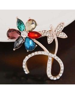 Rhinestone Embellished Multicolor Flower Design High Fashion Alloy Women Brooch