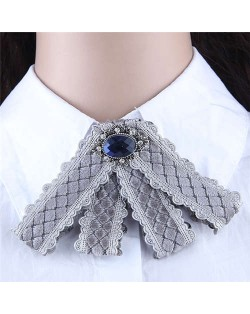 Gem Embellished Vintage Cloth Style Fashion Women Brooch - Gray