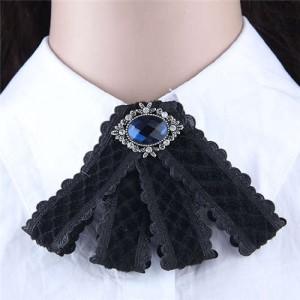 Gem Embellished Vintage Cloth Style Fashion Women Brooch - Black
