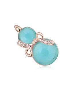 Opal Gourd Design Gold Plated Fashion Women Brooch - Green