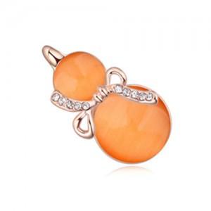 Opal Gourd Design Gold Plated Fashion Women Brooch - Orange