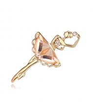 Crystal Ballet Dancer Gold Plated Alloy Graceful Style Women Brooch - Light Coffee