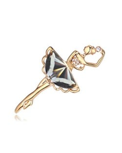 Crystal Ballet Dancer Gold Plated Alloy Graceful Style Women Brooch - Black
