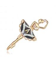 Crystal Ballet Dancer Gold Plated Alloy Graceful Style Women Brooch - Black