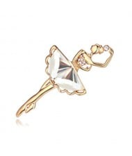 Crystal Ballet Dancer Gold Plated Alloy Graceful Style Women Brooch - White