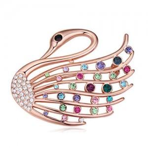 Crystal Embellished Elegant Swan Design Gold Plated Alloy Women Brooch - Multicolor