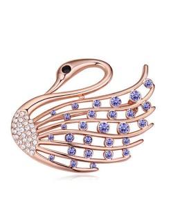 Crystal Embellished Elegant Swan Design Gold Plated Alloy Women Brooch - Violet
