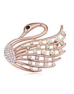 Crystal Embellished Elegant Swan Design Gold Plated Alloy Women Brooch - Luminous White