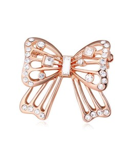 Luxurious Crystal Embellished Gold Plated Bowknot Elegant Design Women Brooch - White