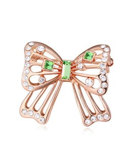 Luxurious Crystal Embellished Gold Plated Bowknot Elegant Design Women Brooch - Green
