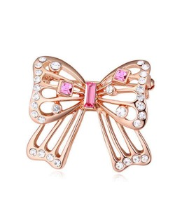 Luxurious Crystal Embellished Gold Plated Bowknot Elegant Design Women Brooch - Pink