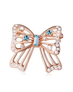 Luxurious Crystal Embellished Gold Plated Bowknot Elegant Design Women Brooch - Blue