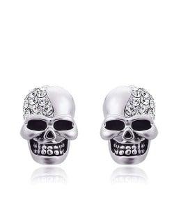 Rhinestone Embellished Skull Punk Fashion Alloy Women Earrings