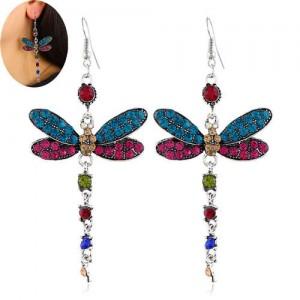 Rhinestone Embellished Dragonfly Dangling Fashion Women Statement Earrings - Multicolor