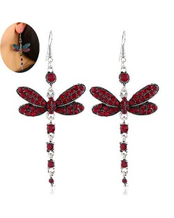 Rhinestone Embellished Dragonfly Dangling Fashion Women Statement Earrings - Red