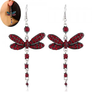 Rhinestone Embellished Dragonfly Dangling Fashion Women Statement Earrings - Red