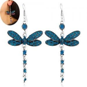 Rhinestone Embellished Dragonfly Dangling Fashion Women Statement Earrings - Blue