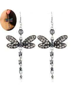 Rhinestone Embellished Dragonfly Dangling Fashion Women Statement Earrings - Gray