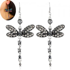 Rhinestone Embellished Dragonfly Dangling Fashion Women Statement Earrings - Gray