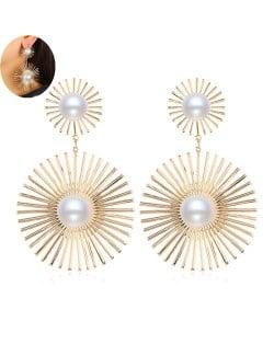 Artificial Pearl Embellished Sunshine Flower Design Bold Fashion Women Alloy Earrings - Golden