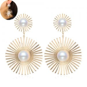 Artificial Pearl Embellished Sunshine Flower Design Bold Fashion Women Alloy Earrings - Golden