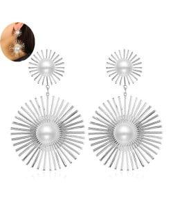 Artificial Pearl Embellished Sunshine Flower Design Bold Fashion Women Alloy Earrings - Silver