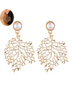Pearl Decorated Golden Hollow Leaves Design Bold Statement Women Earrings