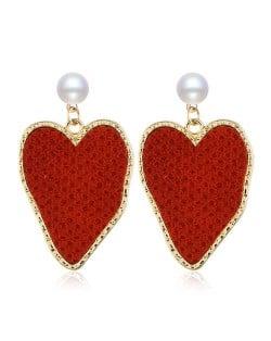 Golden Rimmed Irregular Heart Shape Design Women Fashion Statement Alloy Earrings - Red