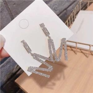 Rhinestone Inlaid Shining Design M Alphabet Dangling Women Earrings - Silver