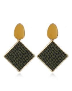 Resin Gem Embellished Square Shape Alloy Women Earrings - Dark Green