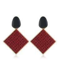 Resin Gem Embellished Square Shape Alloy Women Earrings - Red