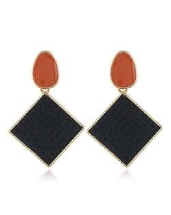 Resin Gem Embellished Square Shape Alloy Women Earrings - Black
