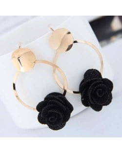Cloth Flower Golden Alloy Hoop Korean Fashion Women Earrings - Black