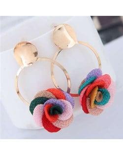 Cloth Flower Golden Alloy Hoop Korean Fashion Women Earrings - Multicolor