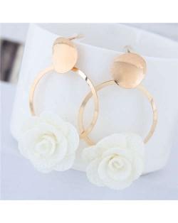 Cloth Flower Golden Alloy Hoop Korean Fashion Women Earrings - White