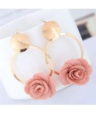 Cloth Flower Golden Alloy Hoop Korean Fashion Women Earrings - Pink