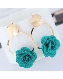 Cloth Flower Golden Alloy Hoop Korean Fashion Women Earrings - Green