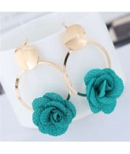 Cloth Flower Golden Alloy Hoop Korean Fashion Women Earrings - Green