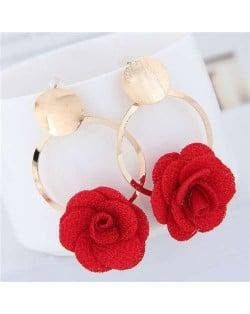 Cloth Flower Golden Alloy Hoop Korean Fashion Women Earrings - Red