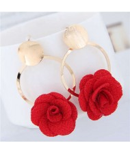 Cloth Flower Golden Alloy Hoop Korean Fashion Women Earrings - Red