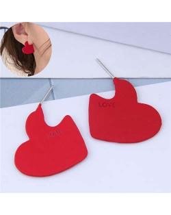 Incomplete Heart Design Love Fashion Alloy Women Earrings