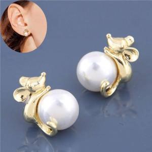 Pearl Fashion Golden Mice Design High Fashion Women Earrings