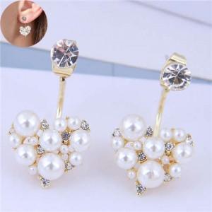Rhinestone and Pearl Fashion Heart Shape Glistening Style Women Costume Earrings
