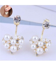 Rhinestone and Pearl Fashion Heart Shape Glistening Style Women Costume Earrings