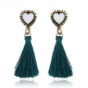 Oil-spot Glazed Vintage Heart with Cotton Threads Tassel Design High Fashion Women Earrings - Green
