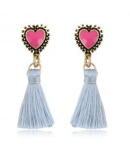 Oil-spot Glazed Vintage Heart with Cotton Threads Tassel Design High Fashion Women Earrings - White