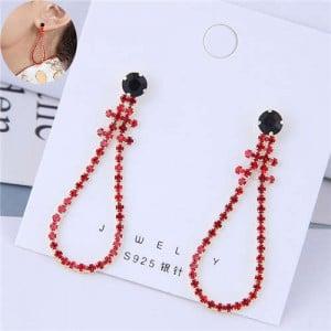 Red Fashion Rhinestone Dangling Waterdrop High Fashion Women Earrings