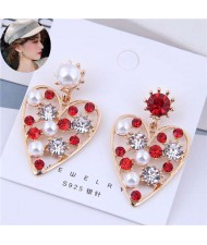 Shining Rhinestone and Pearls Decorated Hollow Golden Heart Design Korean Fashion Earrings