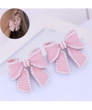 Korean Fashion Bowknot Design Oil-spot Glazed Alloy Women Earrings - Pink