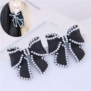 Korean Fashion Bowknot Design Oil-spot Glazed Alloy Women Earrings - Black